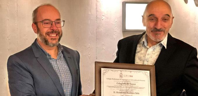 Humberto Bustince, colegiado de honor del colegio de informáticos de Navarra
